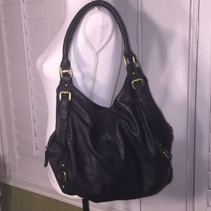 Merona black faux leather shoulder bag. EUC!